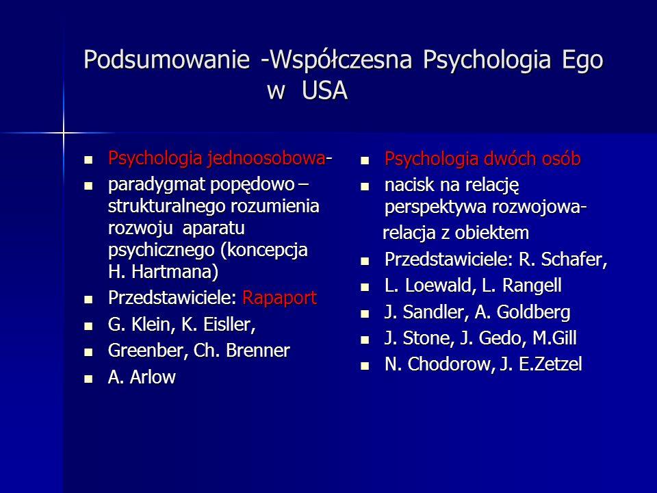 Podsumowanie -Współczesna Psychologia Ego w USA Psychologia jednoosobowa- Psychologia jednoosobowa- paradygmat popędowo – strukturalnego rozumienia ro
