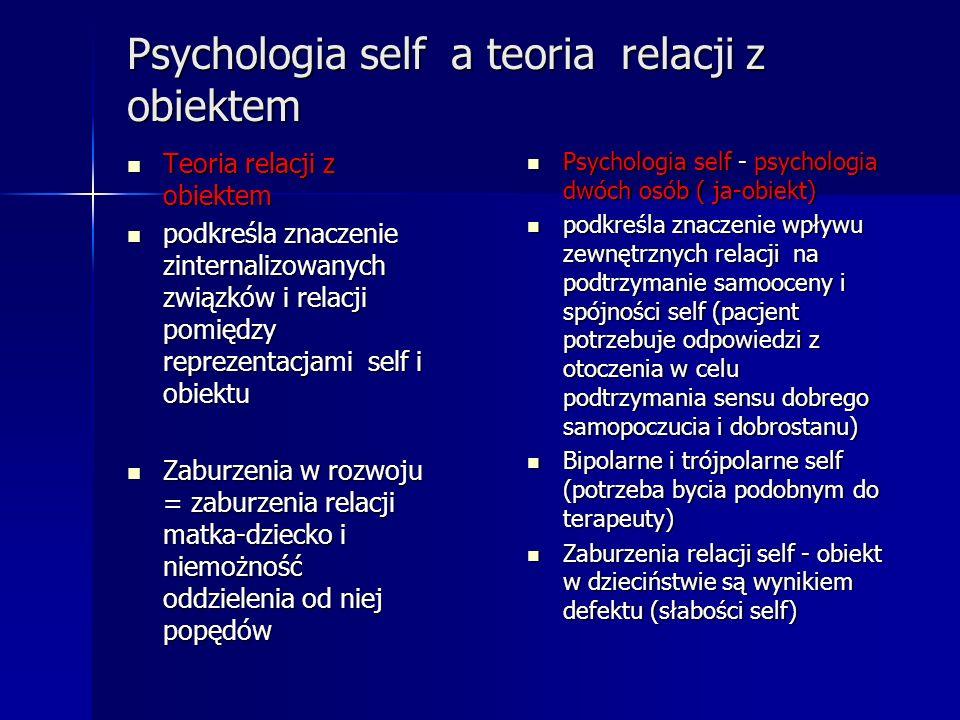 Psychologia self a teoria relacji z obiektem Teoria relacji z obiektem Teoria relacji z obiektem podkreśla znaczenie zinternalizowanych związków i rel
