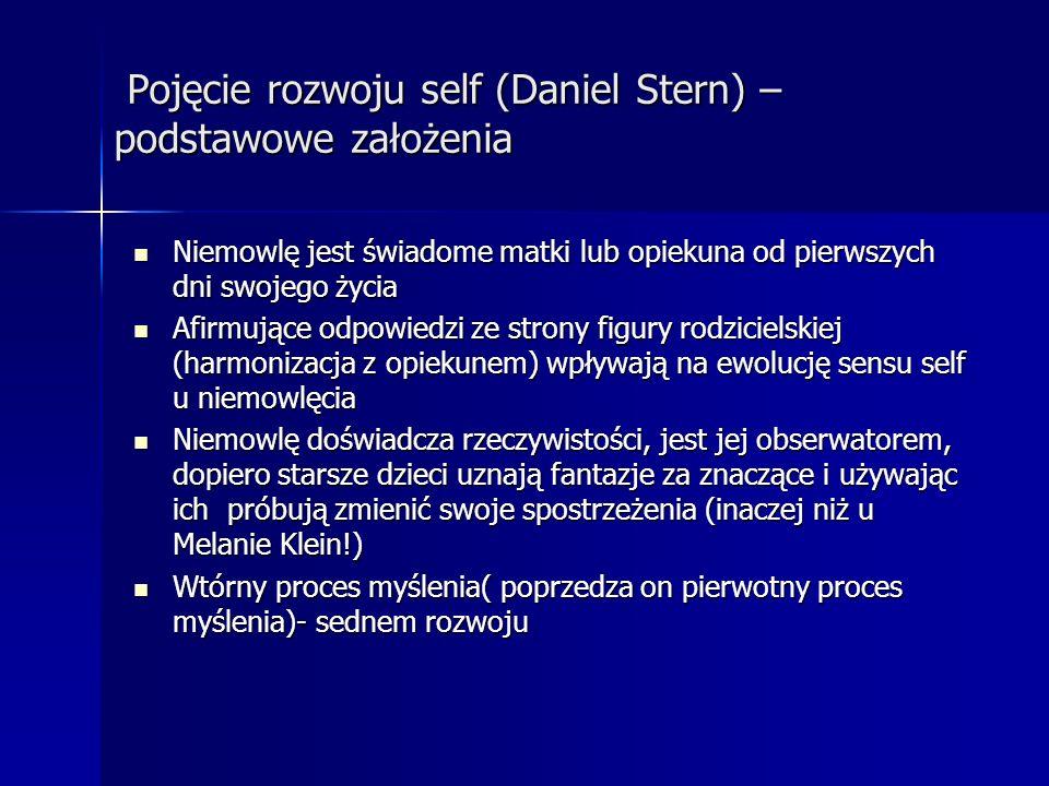 Pojęcie rozwoju self (Daniel Stern) – podstawowe założenia Pojęcie rozwoju self (Daniel Stern) – podstawowe założenia Niemowlę jest świadome matki lub
