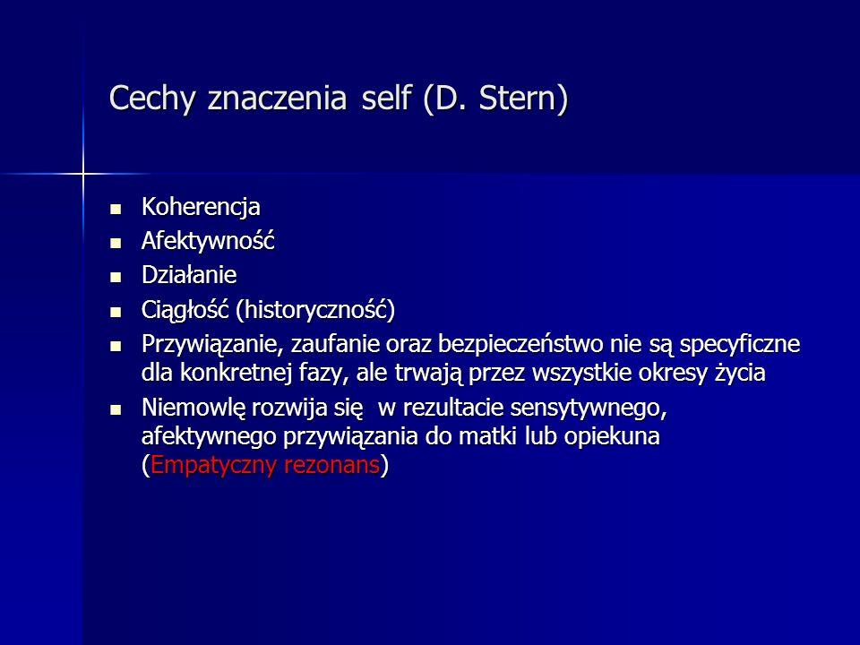 Cechy znaczenia self (D. Stern) Koherencja Koherencja Afektywność Afektywność Działanie Działanie Ciągłość (historyczność) Ciągłość (historyczność) Pr