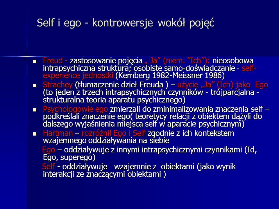 Self i ego - kontrowersje wokół pojęć Self i ego - kontrowersje wokół pojęć Freud - zastosowanie pojęcia Ja (niem. Ich): nieosobowa intrapsychiczna st