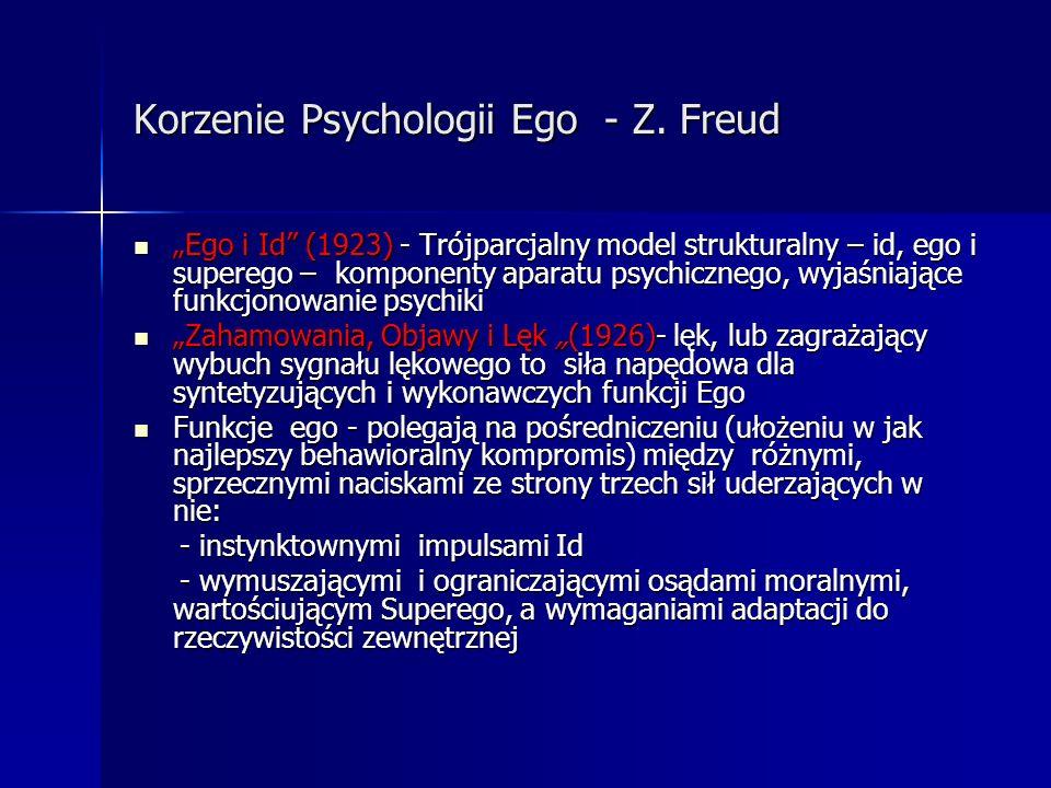 Korzenie Psychologii Ego - Z. Freud Ego i Id (1923) - Trójparcjalny model strukturalny – id, ego i superego – komponenty aparatu psychicznego, wyjaśni
