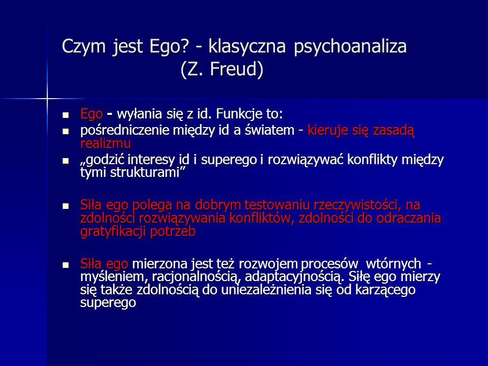Czym jest Ego? - klasyczna psychoanaliza (Z. Freud) Ego - wyłania się z id. Funkcje to: Ego - wyłania się z id. Funkcje to: pośredniczenie między id a