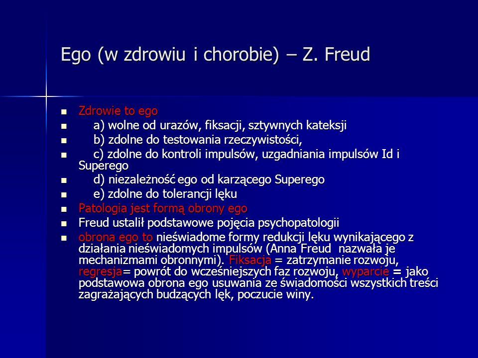 Ego (w zdrowiu i chorobie) – Z. Freud Zdrowie to ego Zdrowie to ego a) wolne od urazów, fiksacji, sztywnych kateksji a) wolne od urazów, fiksacji, szt