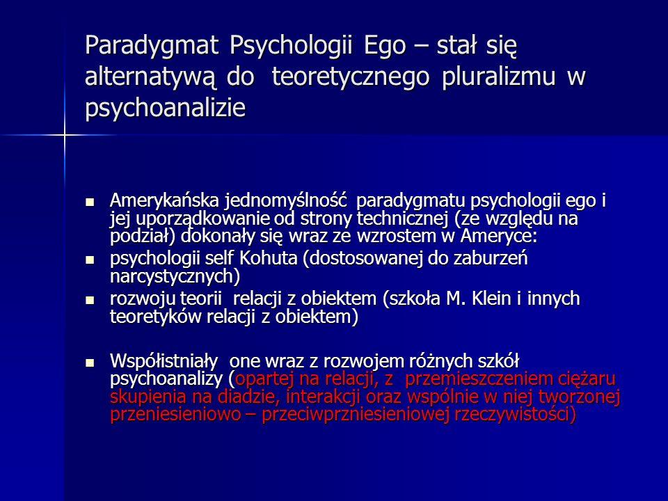 Paradygmat Psychologii Ego – stał się alternatywą do teoretycznego pluralizmu w psychoanalizie Amerykańska jednomyślność paradygmatu psychologii ego i