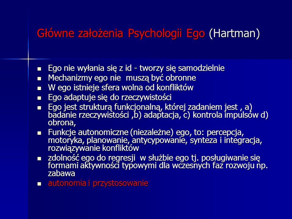 Główne założenia Psychologii Ego (Hartman) Ego nie wyłania się z id - tworzy się samodzielnie Ego nie wyłania się z id - tworzy się samodzielnie Mecha