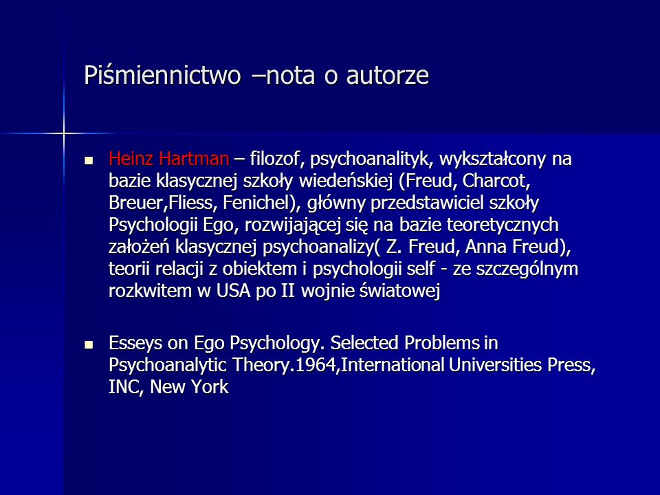 Koncepcja Loewalda Koncepcja Loewalda Klasycznej psychologia ego, znacząco przesuwa go w kierunku psychologii dwóch osób Klasycznej psychologia ego, znacząco przesuwa go w kierunku psychologii dwóch osób Koncepcja Loewalda(lata80 te)- głównym impulsem przesunięcia tradycyjnej psychologii ego w kierunku intelektualnej wspólnoty z nurtem relacji z obiektem i interpersonalnej (Sullivan, Horney) Koncepcja Loewalda(lata80 te)- głównym impulsem przesunięcia tradycyjnej psychologii ego w kierunku intelektualnej wspólnoty z nurtem relacji z obiektem i interpersonalnej (Sullivan, Horney) Analogie do wczesnych interakcji matki z dzieckiem, ponownie (optymalnie) doświadczanej w terapeutycznej rzeczywistości z mniej patogennymi, a bardziej adaptacyjnymi rozwiązaniami Analogie do wczesnych interakcji matki z dzieckiem, ponownie (optymalnie) doświadczanej w terapeutycznej rzeczywistości z mniej patogennymi, a bardziej adaptacyjnymi rozwiązaniami