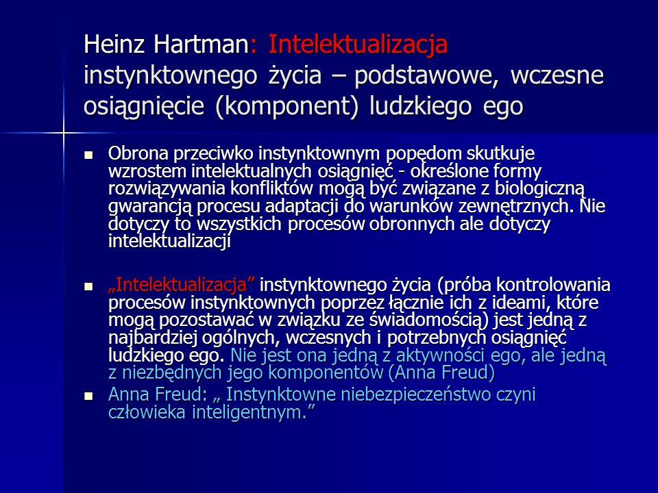 Heinz Hartman: Intelektualizacja instynktownego życia – podstawowe, wczesne osiągnięcie (komponent) ludzkiego ego Obrona przeciwko instynktownym popęd