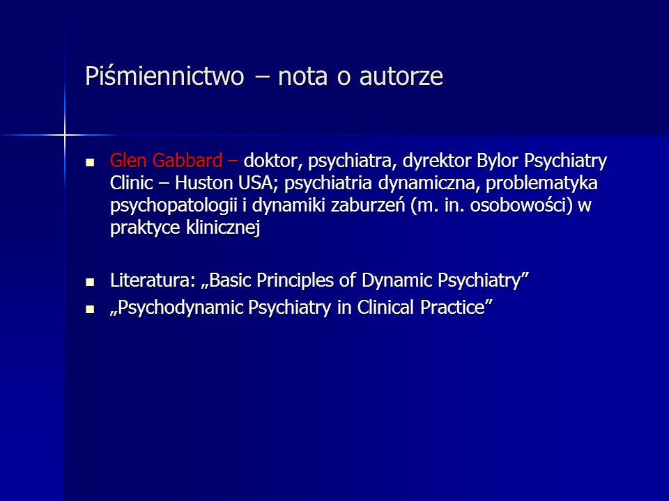 Piśmiennictwo – nota o autorze Glen Gabbard – doktor, psychiatra, dyrektor Bylor Psychiatry Clinic – Huston USA; psychiatria dynamiczna, problematyka
