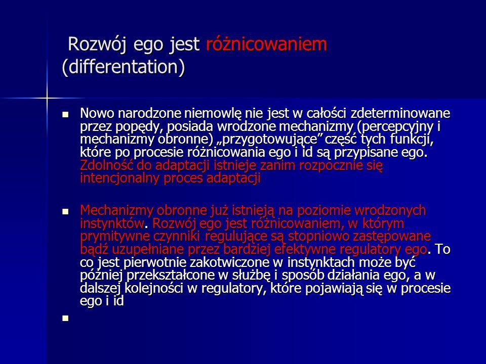 Rozwój ego jest różnicowaniem (differentation) Rozwój ego jest różnicowaniem (differentation) Nowo narodzone niemowlę nie jest w całości zdeterminowan