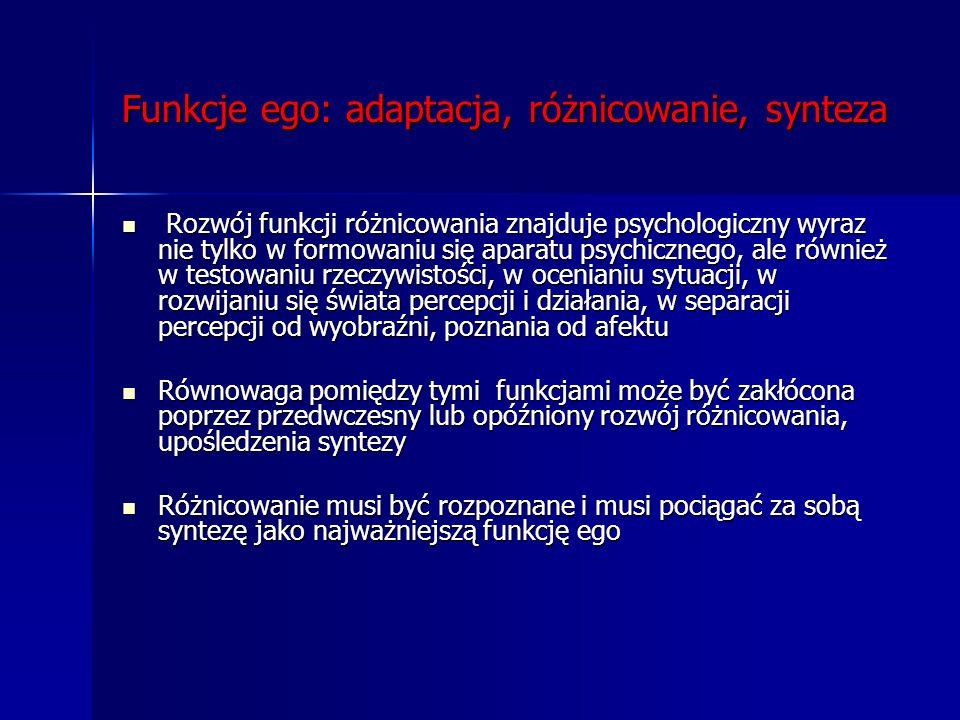 Funkcje ego: adaptacja, różnicowanie, synteza Rozwój funkcji różnicowania znajduje psychologiczny wyraz nie tylko w formowaniu się aparatu psychiczneg