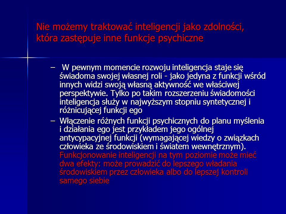 Nie możemy traktować inteligencji jako zdolności, która zastępuje inne funkcje psychiczne – W pewnym momencie rozwoju inteligencja staje się świadoma