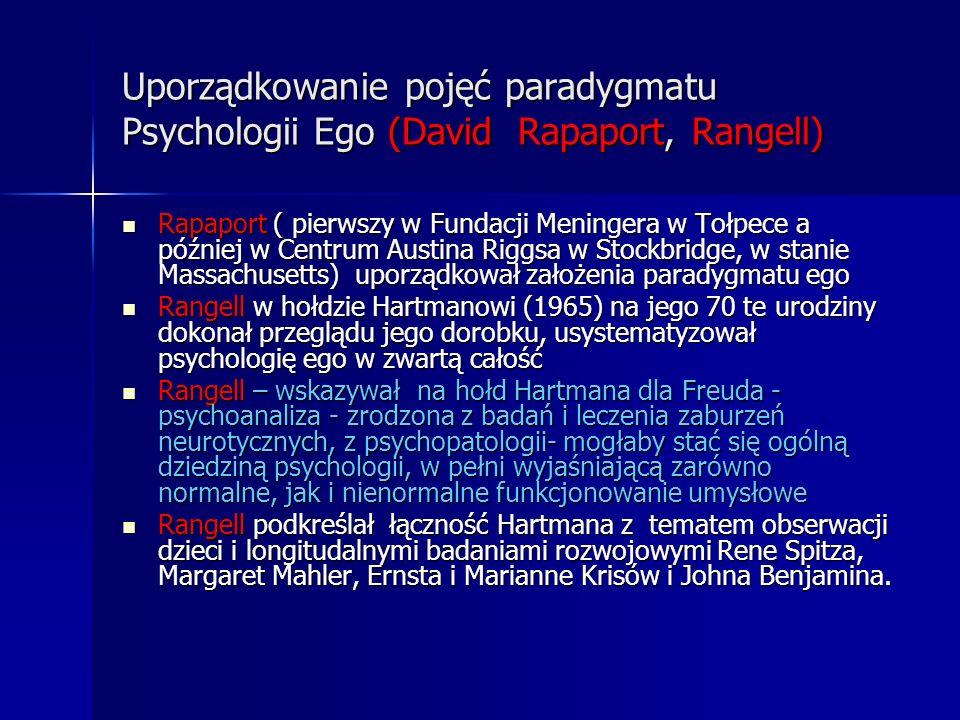 Uporządkowanie pojęć paradygmatu Psychologii Ego (David Rapaport, Rangell) Rapaport ( pierwszy w Fundacji Meningera w Tołpece a później w Centrum Aust