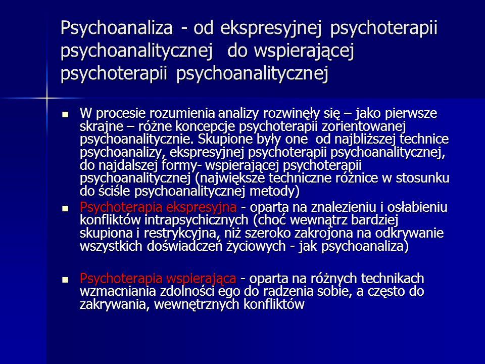 Psychoanaliza - od ekspresyjnej psychoterapii psychoanalitycznej do wspierającej psychoterapii psychoanalitycznej W procesie rozumienia analizy rozwin