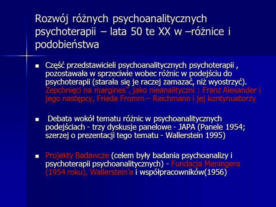 Rozwój różnych psychoanalitycznych psychoterapii – lata 50 te XX w –różnice i podobieństwa Część przedstawicieli psychoanalitycznych psychoterapii, po
