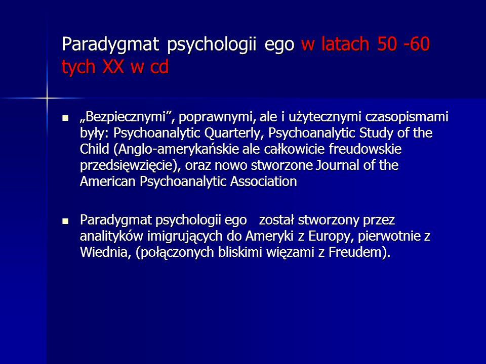 Paradygmat psychologii ego w latach 50 -60 tych XX w cd Bezpiecznymi, poprawnymi, ale i użytecznymi czasopismami były: Psychoanalytic Quarterly, Psych