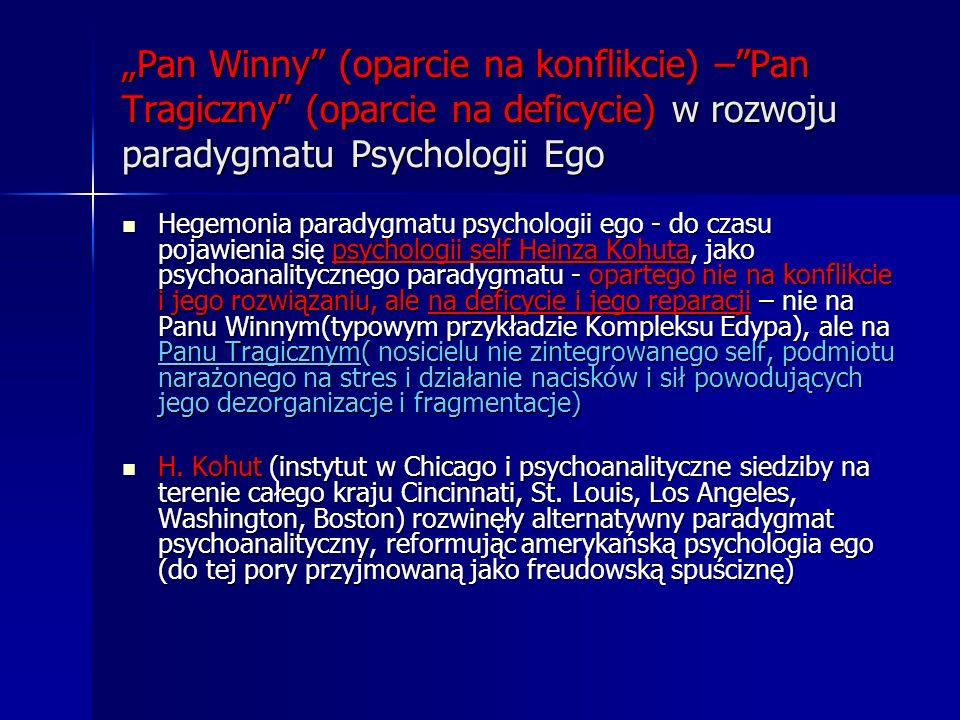 Pan Winny (oparcie na konflikcie) –Pan Tragiczny (oparcie na deficycie) w rozwoju paradygmatu Psychologii Ego Hegemonia paradygmatu psychologii ego -