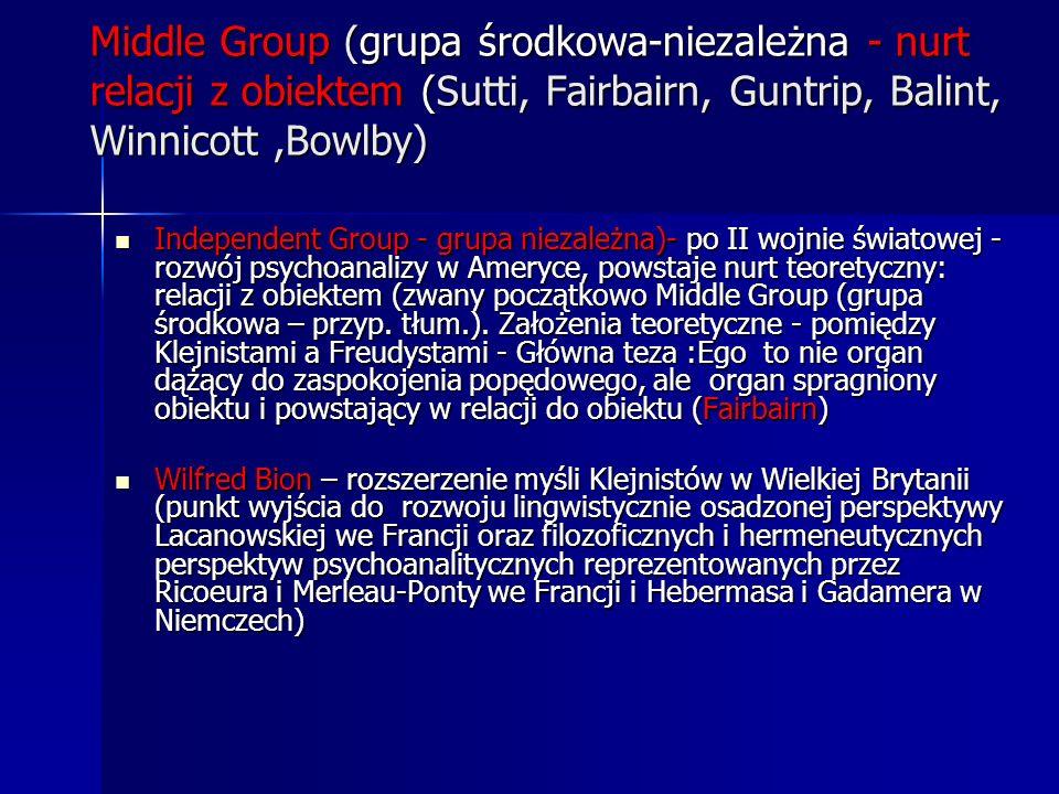 Middle Group (grupa środkowa-niezależna - nurt relacji z obiektem (Sutti, Fairbairn, Guntrip, Balint, Winnicott,Bowlby) Independent Group - grupa niez