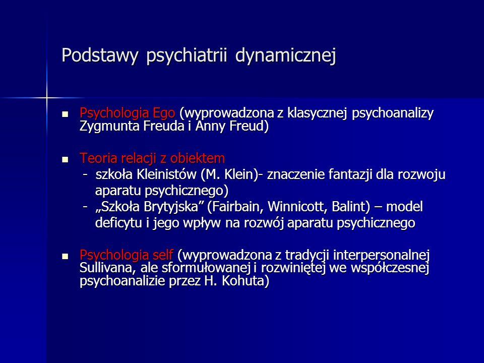 Podstawy psychiatrii dynamicznej Psychologia Ego (wyprowadzona z klasycznej psychoanalizy Zygmunta Freuda i Anny Freud) Psychologia Ego (wyprowadzona