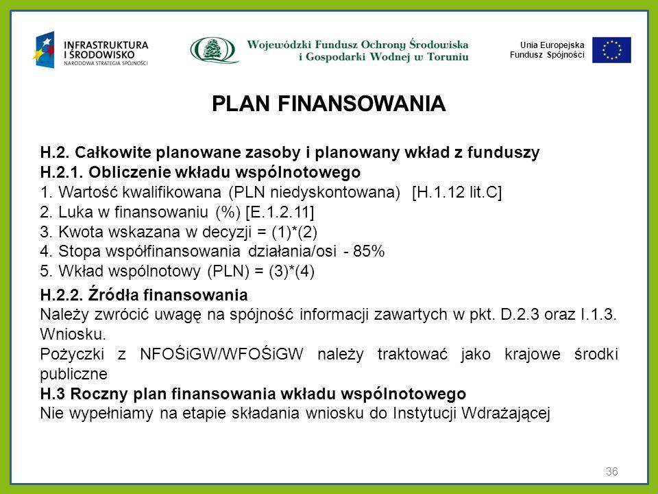 Unia Europejska Fundusz Spójności PLAN FINANSOWANIA H.2. Całkowite planowane zasoby i planowany wkład z funduszy H.2.1. Obliczenie wkładu wspólnotoweg