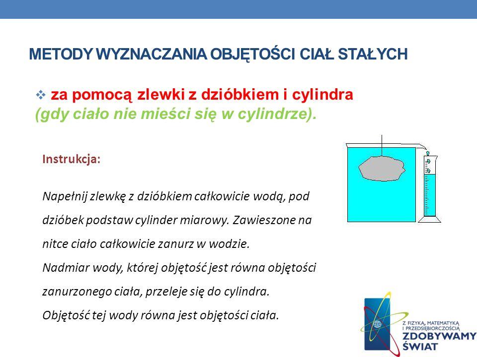 METODY WYZNACZANIA OBJĘTOŚCI CIAŁ STAŁYCH za pomocą zlewki z dzióbkiem i cylindra (gdy ciało nie mieści się w cylindrze). Instrukcja: Napełnij zlewkę