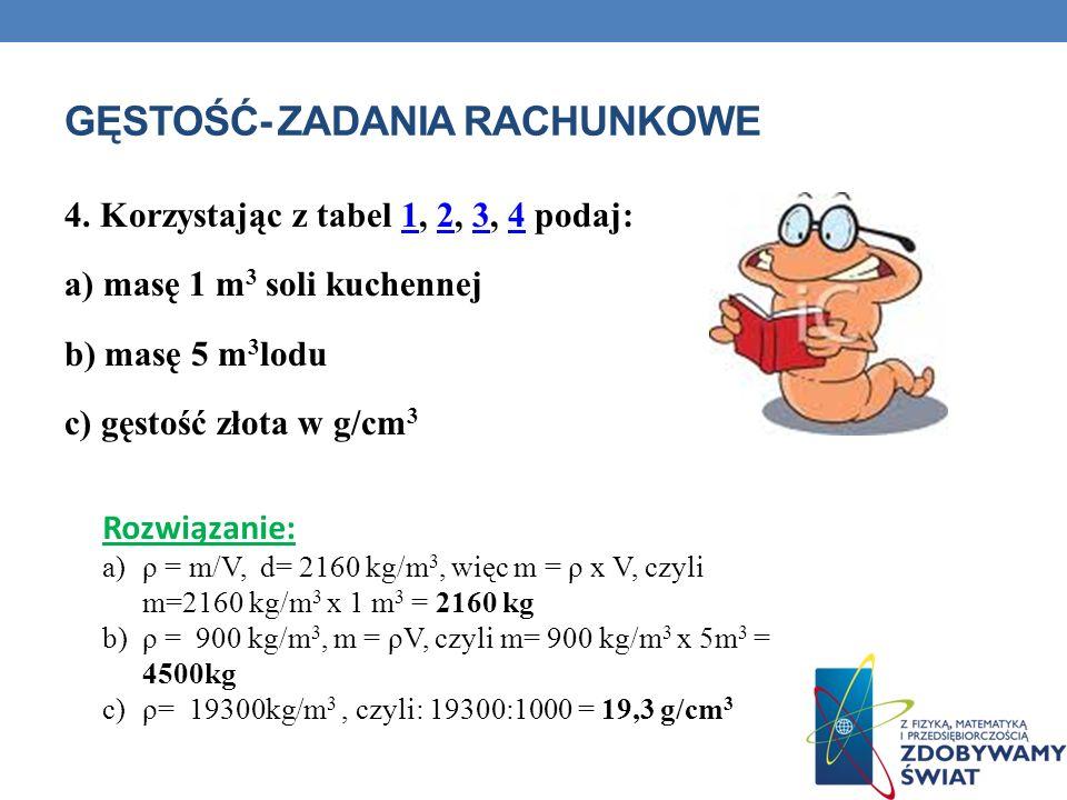 GĘSTOŚĆ- ZADANIA RACHUNKOWE 4. Korzystając z tabel 1, 2, 3, 4 podaj:1234 a) masę 1 m 3 soli kuchennej b) masę 5 m 3 lodu c) gęstość złota w g/cm 3 Roz