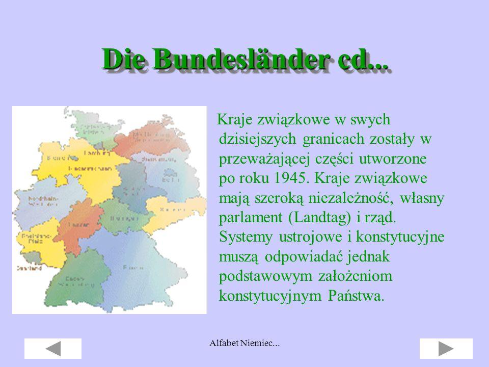 Alfabet Niemiec... jak Länder (Bundesländer), jak Länder (Bundesländer), czyli kraje związkowe.. Meklenburgia-Pomorze Przednie Brandenburgia Bawaria T
