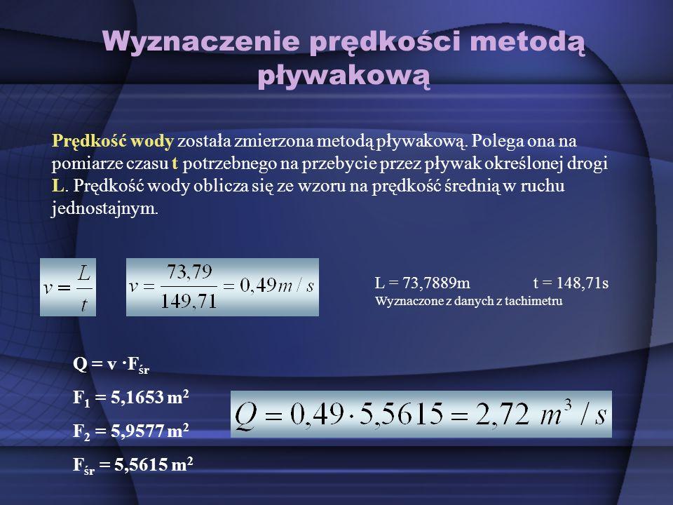 Wyznaczenie prędkości metodą pływakową Prędkość wody została zmierzona metodą pływakową. Polega ona na pomiarze czasu t potrzebnego na przebycie przez