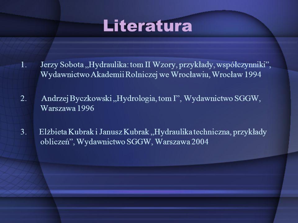 Literatura 1.Jerzy Sobota Hydraulika: tom II Wzory, przykłady, współczynniki, Wydawnictwo Akademii Rolniczej we Wrocławiu, Wrocław 1994 2. Andrzej Byc
