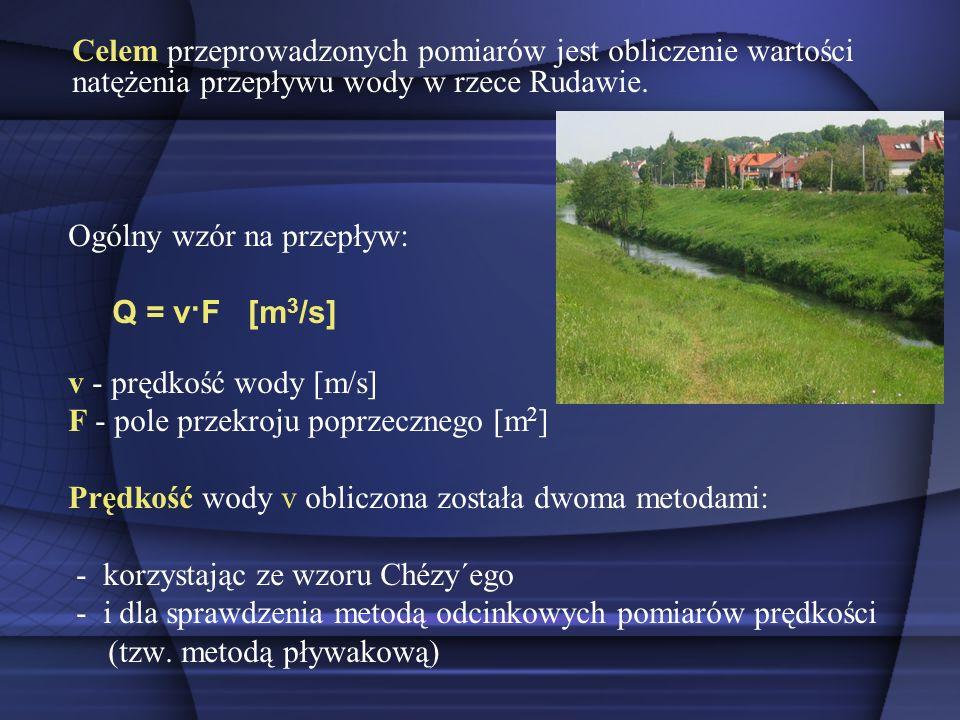 Celem przeprowadzonych pomiarów jest obliczenie wartości natężenia przepływu wody w rzece Rudawie. Ogólny wzór na przepływ: Q = v·F [m 3 /s] v - prędk