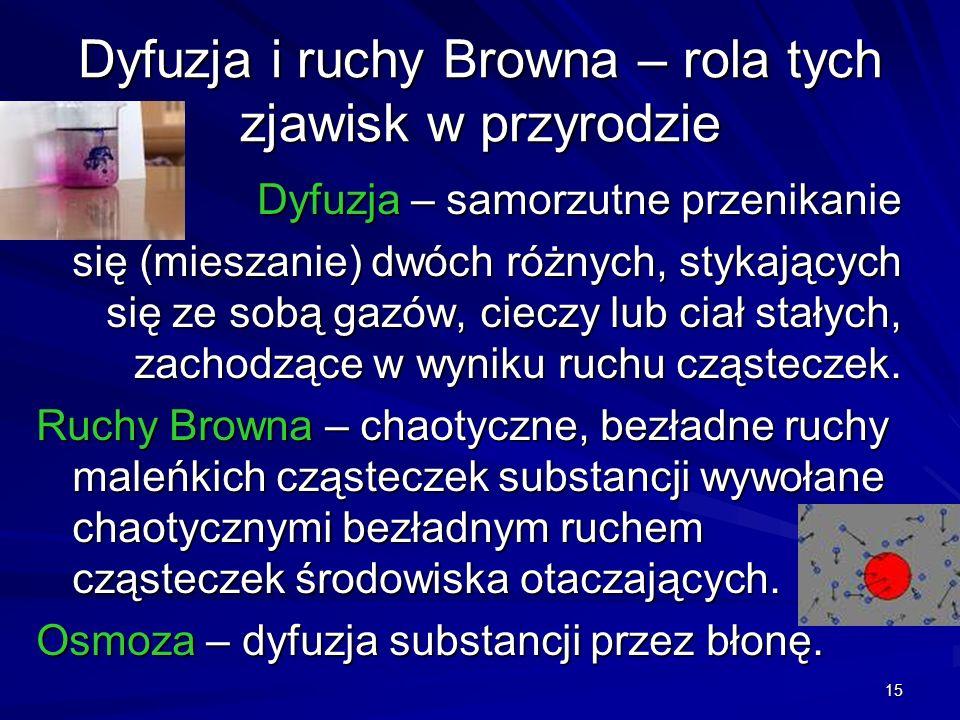 15 Dyfuzja i ruchy Browna – rola tych zjawisk w przyrodzie Dyfuzja – samorzutne przenikanie się (mieszanie) dwóch różnych, stykających się ze sobą gaz