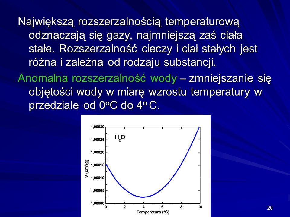 20 Największą rozszerzalnością temperaturową odznaczają się gazy, najmniejszą zaś ciała stałe. Rozszerzalność cieczy i ciał stałych jest różna i zależ