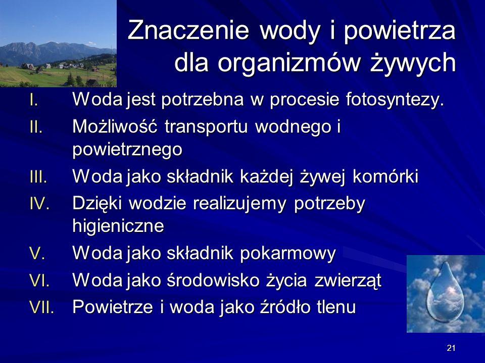 21 Znaczenie wody i powietrza dla organizmów żywych Znaczenie wody i powietrza dla organizmów żywych I. Woda jest potrzebna w procesie fotosyntezy. II