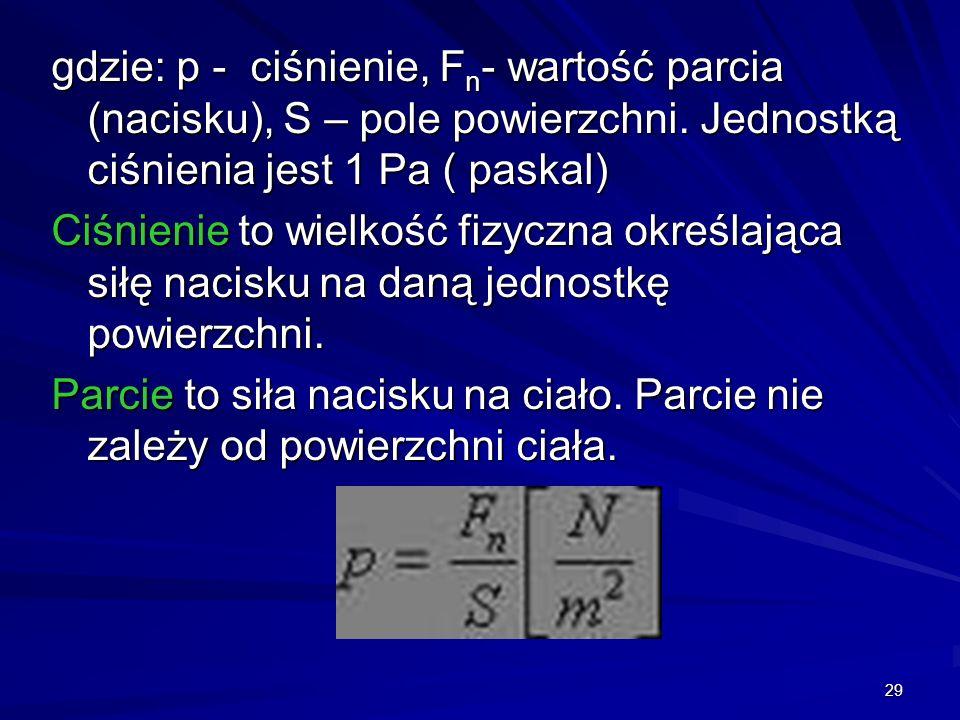 29 gdzie: p - ciśnienie, F n - wartość parcia (nacisku), S – pole powierzchni. Jednostką ciśnienia jest 1 Pa ( paskal) Ciśnienie to wielkość fizyczna