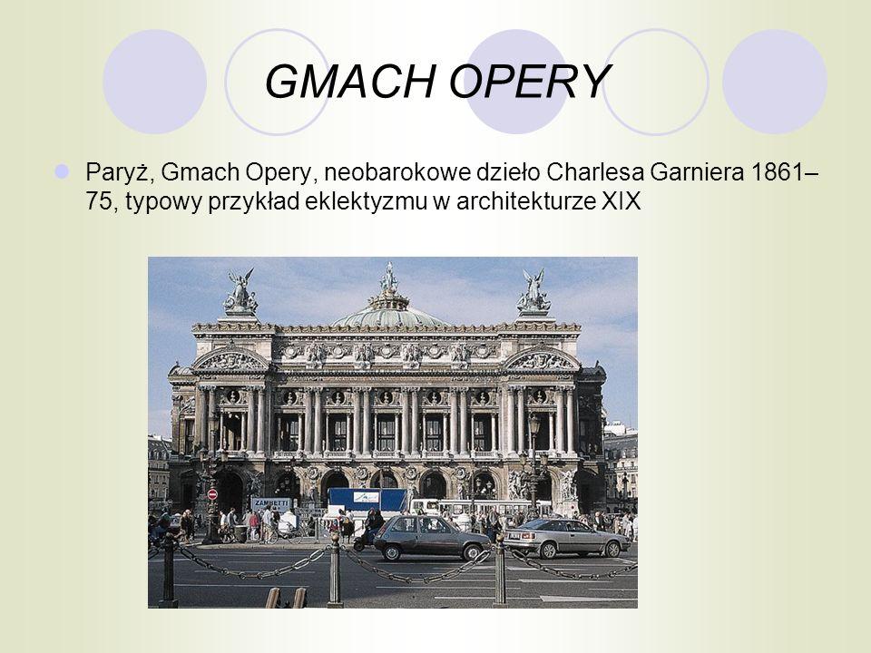 GMACH OPERY Paryż, Gmach Opery, neobarokowe dzieło Charlesa Garniera 1861– 75, typowy przykład eklektyzmu w architekturze XIX
