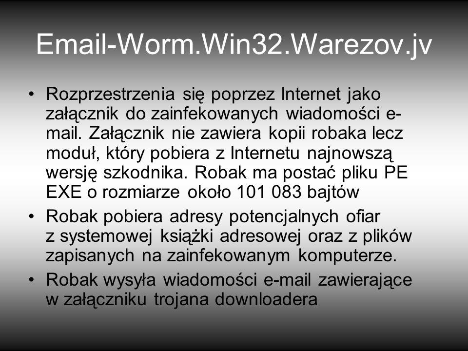 Rozprzestrzenia się poprzez Internet jako załącznik do zainfekowanych wiadomości e- mail.