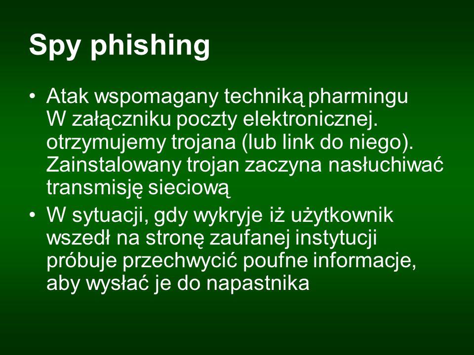 Spy phishing Atak wspomagany techniką pharmingu W załączniku poczty elektronicznej.