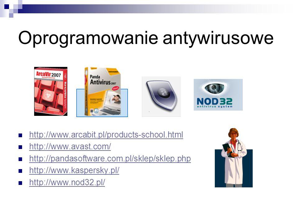 Oprogramowanie antywirusowe http://www.arcabit.pl/products-school.html http://www.avast.com/ http://pandasoftware.com.pl/sklep/sklep.php http://www.kaspersky.pl/ http://www.nod32.pl/