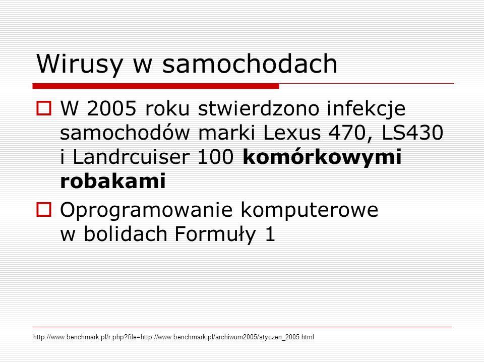 Wirusy w samochodach W 2005 roku stwierdzono infekcje samochodów marki Lexus 470, LS430 i Landrcuiser 100 komórkowymi robakami Oprogramowanie komputerowe w bolidach Formuły 1 http://www.benchmark.pl/r.php?file=http://www.benchmark.pl/archiwum2005/styczen_2005.html