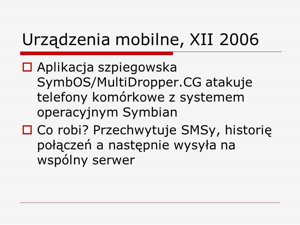 Urządzenia mobilne, XII 2006 Aplikacja szpiegowska SymbOS/MultiDropper.CG atakuje telefony komórkowe z systemem operacyjnym Symbian Co robi.