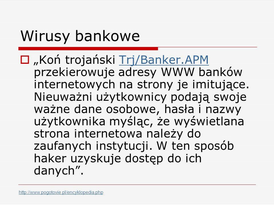 Wirusy bankowe Koń trojański Trj/Banker.APM przekierowuje adresy WWW banków internetowych na strony je imitujące.