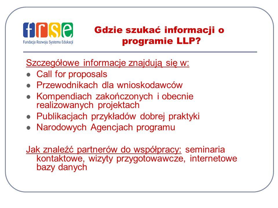 Gdzie szukać informacji o programie LLP? Szczegółowe informacje znajdują się w: Call for proposals Przewodnikach dla wnioskodawców Kompendiach zakończ