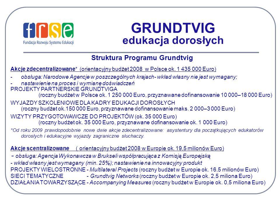 GRUNDTVIG edukacja dorosłych Struktura Programu Grundtvig Akcje zdecentralizowane* (orientacyjny budżet 2008 w Polsce ok. 1 435 000 Euro) -obsługa: Na