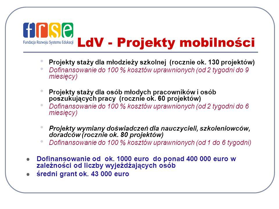 LdV - Projekty mobilności Projekty staży dla młodzieży szkolnej (rocznie ok. 130 projektów) Dofinansowanie do 100 % kosztów uprawnionych (od 2 tygodni