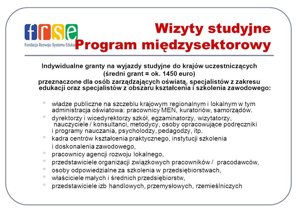 Wizyty studyjne Program międzysektorowy Indywidualne granty na wyjazdy studyjne do krajów uczestniczących (średni grant = ok.