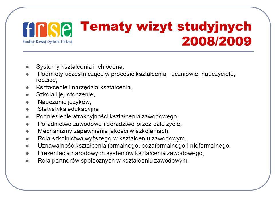 Tematy wizyt studyjnych 2008/2009 Systemy kształcenia i ich ocena, Podmioty uczestniczące w procesie kształcenia uczniowie, nauczyciele, rodzice, Kształcenie i narzędzia kształcenia, Szkoła i jej otoczenie, Nauczanie języków, Statystyka edukacyjna Podniesienie atrakcyjności kształcenia zawodowego, Poradnictwo zawodowe i doradztwo przez całe życie, Mechanizmy zapewniania jakości w szkoleniach, Rola szkolnictwa wyższego w kształceniu zawodowym, Uznawalność kształcenia formalnego, pozaformalnego i nieformalnego, Prezentacja narodowych systemów kształcenia zawodowego, Rola partnerów społecznych w kształceniu zawodowym.