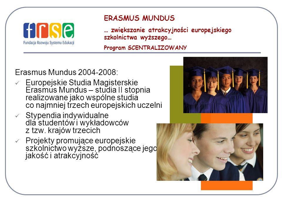ERASMUS MUNDUS … zwiększanie atrakcyjności europejskiego szkolnictwa wyższego… Program SCENTRALIZOWANY Erasmus Mundus 2004-2008: Europejskie Studia Magisterskie Erasmus Mundus – studia II stopnia realizowane jako wspólne studia co najmniej trzech europejskich uczelni Stypendia indywidualne dla studentów i wykładowców z tzw.