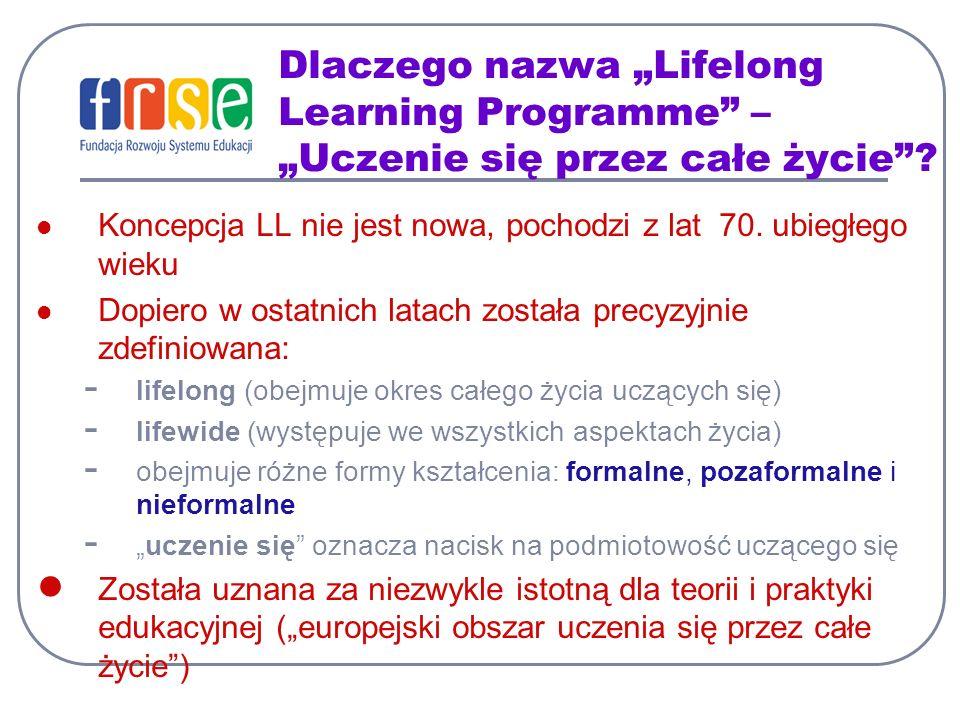 Dlaczego nazwa Lifelong Learning Programme – Uczenie się przez całe życie? Koncepcja LL nie jest nowa, pochodzi z lat 70. ubiegłego wieku Dopiero w os