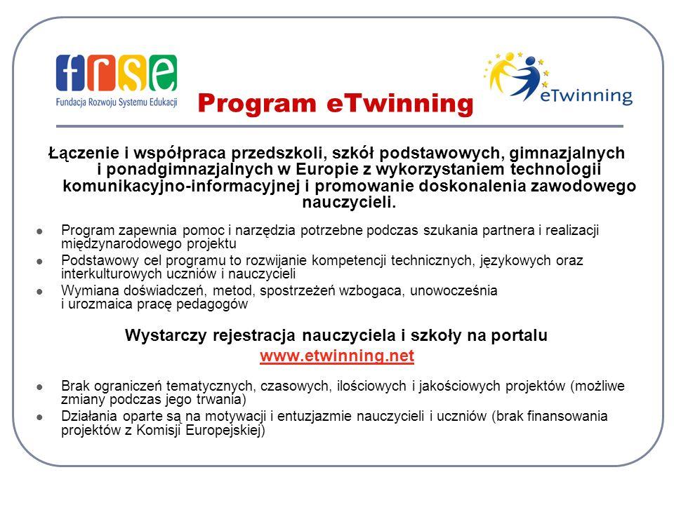 Program eTwinning Łączenie i współpraca przedszkoli, szkół podstawowych, gimnazjalnych i ponadgimnazjalnych w Europie z wykorzystaniem technologii komunikacyjno-informacyjnej i promowanie doskonalenia zawodowego nauczycieli.