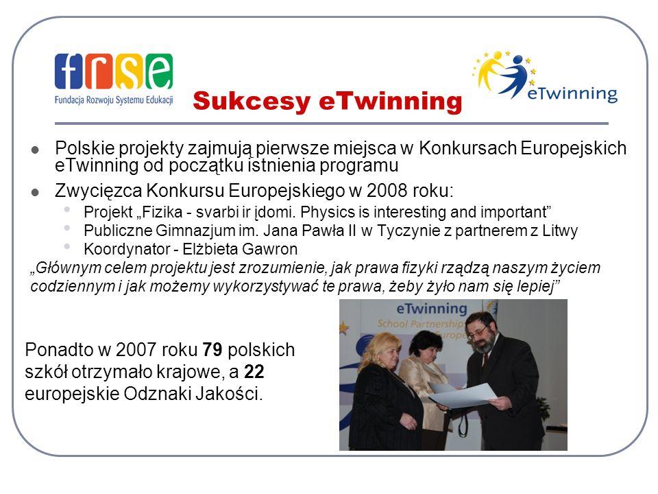 Sukcesy eTwinning Polskie projekty zajmują pierwsze miejsca w Konkursach Europejskich eTwinning od początku istnienia programu Zwycięzca Konkursu Euro
